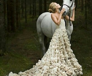 horse, dress, and wedding image