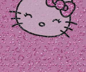 background, glitter, and hello kitty image