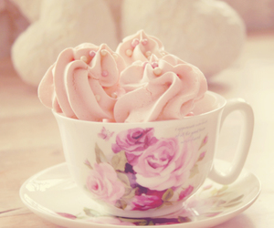 cup, floral, and pink image