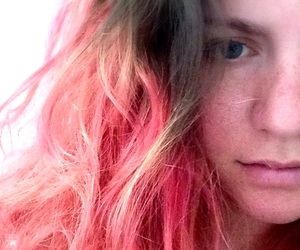 messy hair, pink hair, and ombre image