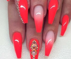 nail polish, nails, and neon image