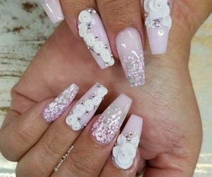 baby pink, flowers, and nail polish image