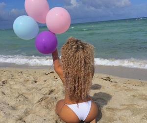 girl, beach, and curly hair image