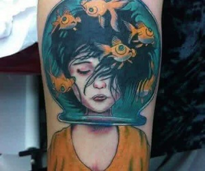 tattoo, girl, and fish image