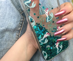 glitter, iphone, and mermaid image