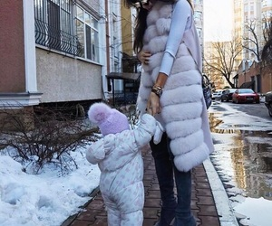girl, baby, and winter image