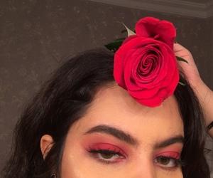 makeup, red, and slay image