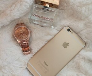 iphone, gold, and watch image