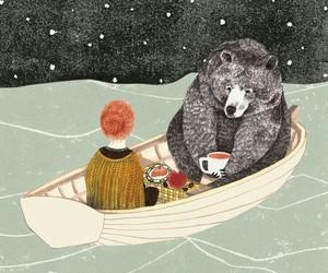 bear, art, and boat image