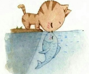 love, cat, and fish image