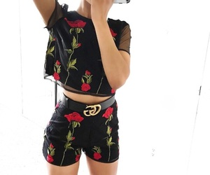 fashion, black, and flowers image