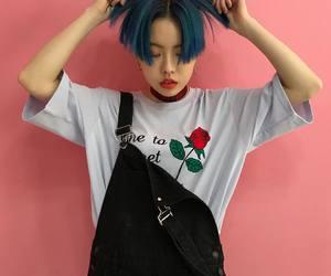 blue hair, fashion, and korean image