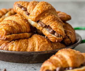 croissant, chocolate, and breakfast image