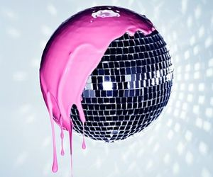 pink, disco, and paint image
