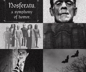 black & white, Dracula, and Frankenstein image