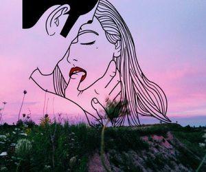 art, couple, and sky image