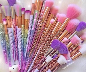 Brushes, unicorn, and pink image