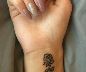 flower, rose, and tattoo image