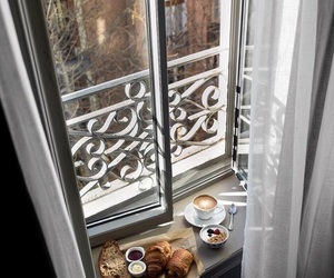 breakfast, cappuccino, and croissants image