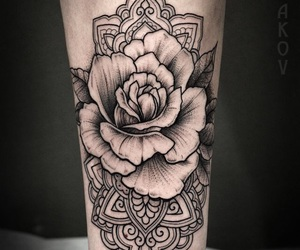 tattoo, mandala, and rose image