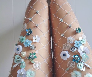blue, fashion, and flowers image
