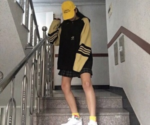 fashion, yellow, and adidas image