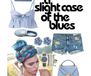 blue hair, blue watch, and bracelets image