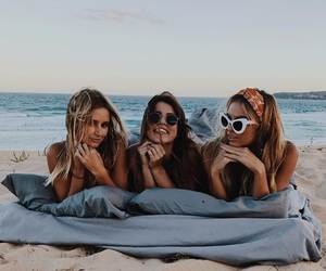 beach, girls, and friends image