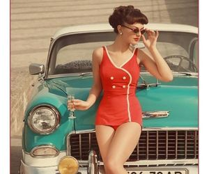 vintage, car, and red image