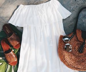 bag, sandals, and dress image