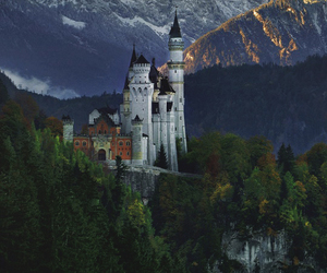 castle, forest, and mountain image