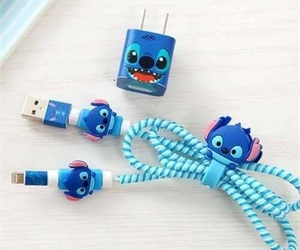 charger, earbuds, and lilo and stitch image