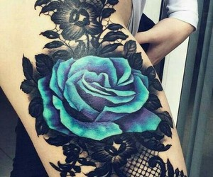 blue, tattoo, and rose image