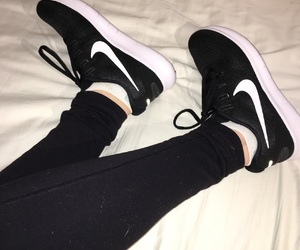 black, nike, and running shoes image