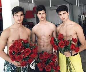 boy, red, and rose image