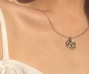 aesthetic, gold, and necklace image