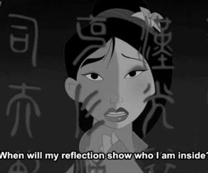 mulan, disney, and reflection image