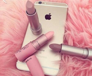 iphone, pink, and Lipsticks image
