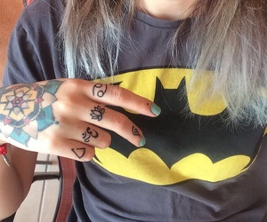 batman, fingers, and girl image