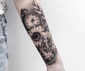 clock, flowers, and heart image
