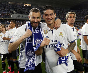 real madrid, benzema, and james rodriguez image