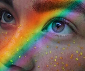 eyes, glitters, and rainbow image
