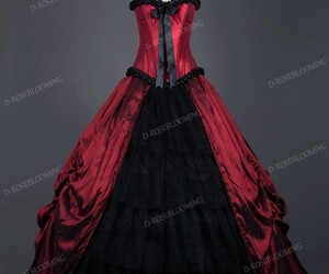 red gothic dress, gothic prom dress, and gothic wedding dress image
