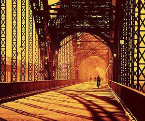 bridge, photography, and sunset image