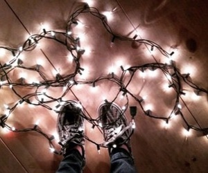 fairy lights, lights, and shoes image