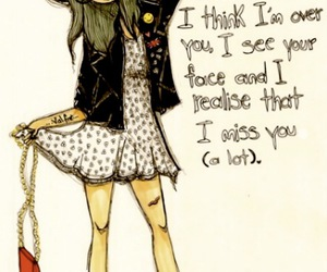 girl, illustration, and miss you image