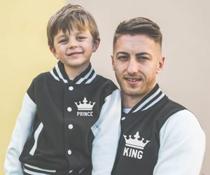 fashion, jacket, and father son image