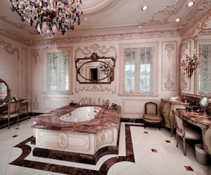 rose gold, bathroom, and interior image