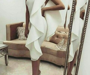 chic, dress white, and lady style image
