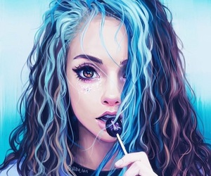 girl, blue, and art image